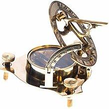 JapanAttitude Sonnenuhr mit Kompass Gold 8cm