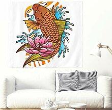 Japanisch Koi Fisch mit Welle und Lotus