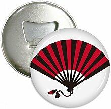 Japanisch Rot Schwarz Fan Rund Flaschenöffner