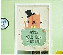 Japanische Cartoon Baumwolle Leinen Tür Vorhang für Schlafzimmer Badezimmer Tapisserie Raumteiler Wandbehänge (85 x 90 cm, Gentleman Katze)