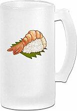 Japanische Garnelen-Sushi bereifte Bierkrüge