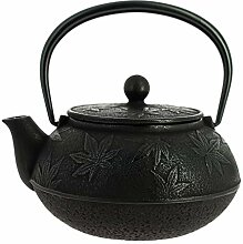 Japanische Gusseisen Teekanne Iwachu Kaede schwarz