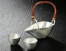 Japanische handgefertigt aus Zinn KATAKUCHI sake-set (sake sakebottle 1 und 2 Tassen)