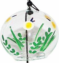 Japanische Handgefertigt Glas Windspiel mit Gemälde von Glühwürmchen