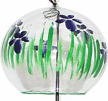 Japanische Handgefertigt Glas Windspiel mit Malerei von Iris Blumen