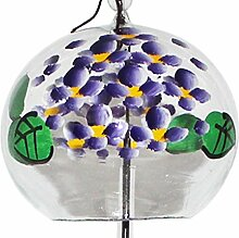 Japanische Handgefertigt Glas Windspiel mit Violett Hortensia