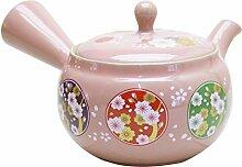Japanische Keramik Kyusu Teekanne 320 cc, rosa mit