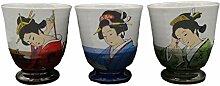 Japanische Kimono-Teebecher, Keramik, hergestellt
