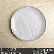 Japanische Mode Persönlichkeit Keramisches Geschirr Teller Haushalt Teller Suppe Küche flache Scheibe Heimtextilien Obstteller, Silber 8 Zoll