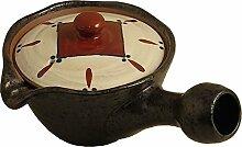 Japanische Raku Keramik Teekanne Kyusu mit Sieb,