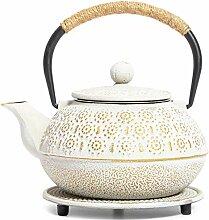 Japanische Teekanne aus Gusseisen mit Griff,