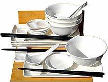 Japanische weiße Sushi-Set mit Schüsseln und