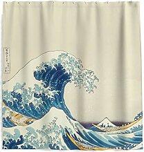 Japanischen Stil Malerei Welle Duschvorhang mit