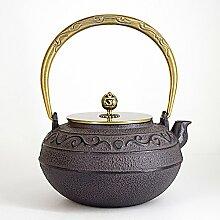 Japanischer Eisentopf Kupfergriff Gusseiserner
