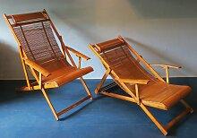 Japanischer Liegestuhl aus Bambus, 1950er, 2er Set