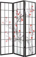 Japanischer Paravent aus schwarzem Holz und Papier