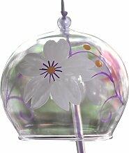 Japanisches Furin Glas-Windspiel, Handgefertigt, schönes Geschenk zu Geburtstag, Valentinstag, Dekoration für Zuhause, Küche, Garten, Fenster, Motiv: Weiße Kirschblüte