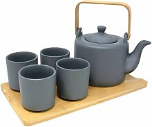 Japanisches Tee-Set mit 4 Tassen, Bambus-Tablett