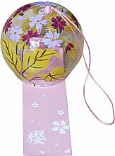 Japanisches Windspiel/Windglocken, handgefertigt, Geschenk aus Glas für Geburtstag und Valentinstag, Deko für Zuhause, Küche, Wellness-Einrichtung, Garten, Fenster (Blumen und Blätter)