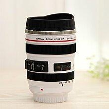 JARBO Reise-Becher (Weiße, 13 Unze, 360 ml) mit Deckel, Kamera-Objektiv-Becher für Kaffee Tee Wasser Milch