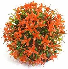 Jardin Kunststoff Runde Form Air Stein Basis Künstliche Aquarium Pflanzen Dekoration, orange
