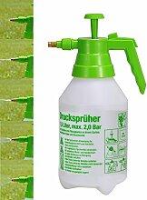 Jardinion Profi Drucksprüher, Sprühgerät 1,5 L, Kunststoff, transparent grün, Messing Düse, Garten, Unkraut, Bewässerung Grün STK