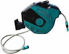Jardinion Schlauchtrommel/-box automatischer Einzug 30 m Spritze und Anschlussteile Wasser Schlauchaufroller Schlauchträger Schwarz/ Blau STK