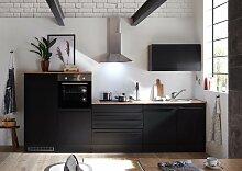 Jarklow Küchenzeile Küchenblock Schwarz Matt