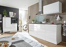 Jarklow Küchenzeile Küchenblock Weiß Hochglanz