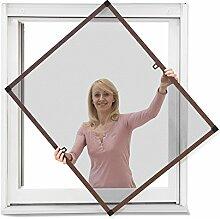 JAROLIFT Insektenschutz Spannrahmen Profi Line für Fenster, Rahmengröße 130cm x 150cm braun - ohne Bohren montierbar