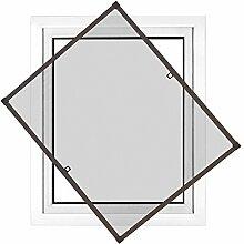 JAROLIFT Insektenschutz Spannrahmen Profi Line für Fenster, Rahmengröße 100cm x 150cm braun - ohne Bohren montierbar