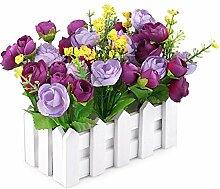 jarown weiß Lattenzaun mit Seide Rose Künstliche Blumen Mini Garden Holz-Vase für Schreibtisch Hochzeit Decor viole