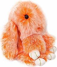 jasmineli Lovely Vorwärts Rex Kaninchen Puppe flauschig Bunny Auto Schlüsselanhänger Handtasche Anhänger Schlüsselanhänger Dekoration, Orange