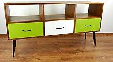 Java Retro Sideboard aus Teakholz | Vintage TV-Bank aus Massivholz | Teakholz Phonoschrank | Asia HiFi-Möbel (Handarbeit) | Asiatische Möbel der Marke Asia Wohnstudio