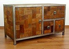 Java Sideboard aus Metall und Teakholz | Kommode im Industrial Design | Asiatische Möbel der Marke Asia Wohnstudio | Asia TV-Bank | Teakholz Sideboard (Handarbeit)