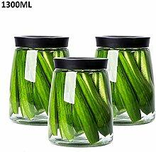 Jaxonn home Glas Vorratsdose mit Bambus Deckel,