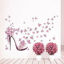 JAXX Rosa Schmetterling High Heel Wandaufkleber