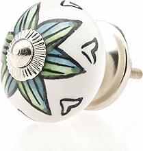 Jay Knopf Möbelknopf Möbelknauf,Möbelknöpfe, Möbelgriff, Shabby Chic Vintage Keramik Porzellan-3013-E R3-146 türkis