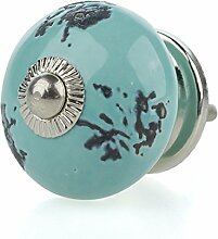 Jay Knopf Möbelknopf Möbelknauf, Möbelknöpfe, Möbelgriff, Vintage Shabby Chic Keramik Porzellan SD-10-E türkis