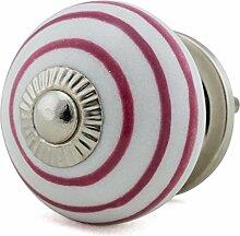 Jay Knopf Möbelknopf Möbelknauf,Möbelknöpfe, Möbelgriff, Vintage Shabby Chic Keramik Porzellan 1065-E R1-11 pink/rosa