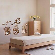 JAYSK Topfpflanzen schmücken den Baumwandaufkleber Raum-Wandaufkleber Hintergrund PVC lebt wasserdicht Aufkleber 45cm * 60cm
