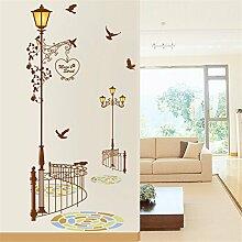 JAYSK Wasserdichte Wandaufkleber Wohnzimmer Schlafzimmer dekorative Wandaufkleber Aufkleber Tapete Aufkleber Straßenlaternen Zäune 60cm * 90cm