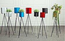 JAZS® Flower Racks, Iron Nordic Einfache Indoor Balkon Wohnzimmer Polygon Floor Style Dreieck Blume Regal Blumentopf Rack Das ganze Paket Umweltschutz raffiniert ( Farbe : Schwarz )