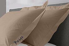JB Bettwäsche Scala solid Ägyptische Baumwolle Oxford Style Kissen wählen Sie Farbe und Größe (alle Größen und Farben), 100 % Ägyptische Baumwolle, beige, Euro/Square/Continental/European