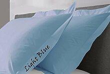 JB Bettwäsche Scala solid Ägyptische Baumwolle Oxford Style Kissen wählen Sie Farbe und Größe (alle Größen und Farben), 100 % Ägyptische Baumwolle, hellblau, Standard