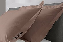 JB Bettwäsche Scala solid Ägyptische Baumwolle Oxford Style Kissen wählen Sie Farbe und Größe (alle Größen und Farben), 100 % Ägyptische Baumwolle, taupe, Super King