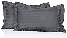 JB Leinen 350-thread-count gestreift Ägyptische Baumwolle Oxford Stil Kissen wählen Sie Farbe und Größe (alle Größen und Farben), 100 % Ägyptische Baumwolle, Grau (Elephant Grey), Standard