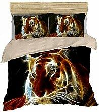 Jcchome Tiger 3d-Print-Bettwäsche-Set mit