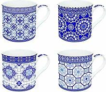 JD Diffusion 179AZUL Kunst rund um die Welt Box mit 4 Tassen Multicolor '