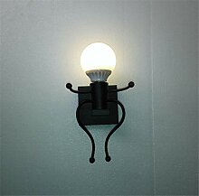 JDFM5 Art Bösewicht, Einzelkopf schwarz Wandlampe